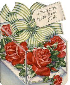 "Vintage ""Get Well"" Card.Get Well Corsage. Vintage Birthday Cards, Vintage Valentine Cards, Vintage Greeting Cards, Vintage Holiday, Vintage Postcards, Vintage Ephemera, Vintage Pictures, Vintage Images, Old Cards"