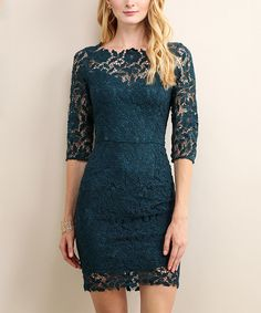 Look at this Emerald Teal Floral-Lace Three-Quarter Sleeve Dress on #zulily today!