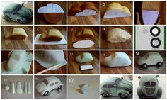 DIY beetle car cake: step-by-step Cake Decorating Techniques, Cake Decorating Tutorials, Fondant Cakes, Cupcake Cakes, 3d Cakes, Bolo Diy, Car Cake Tutorial, Bug Cake, Beetle Car