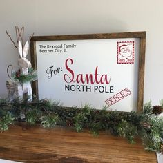 Letter To Santa North Pole Sign Santa Sign Santa Claus Diy Christmas Decorations For Home, Christmas Signs Wood, Holiday Signs, Christmas Crafts For Gifts, Farmhouse Christmas Decor, Christmas Craft Show, Christmas Frames, Merry Christmas Sign Diy, Diy Christmas Projects