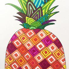 Pineapple doodles today :-) #doodlesofinstagram #pineapple #sharpies
