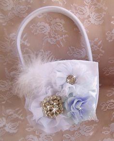 Flower Girl Basket  Flower Girl Basket White by nanarosedesigns, $35.00