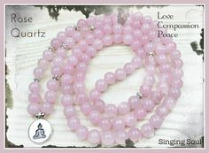 Rose quartz Mala 108 beads Mala Bracelet Reiki Buddha