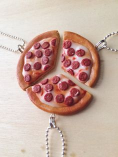 Best Friend Tri-pizza necklaces by SweetCraftJewelrySA on Etsy