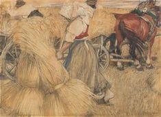 (Waidhofen a. d. Ybbs 1871- 1956 Wien) Ernte, bezeichnet F. Andri 1900 (?), Mischtechnik auf Papier auf Leinwand, 55,5 x 75,5 cm, gerahmt Ferdinand, Art Auction, Painting, Paper, Contemporary Art, Harvest, Canvas, Painting Art, Paintings