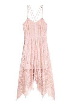 Knielange kanten jurk - Poederroze - DAMES | H&M NL