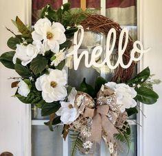 Christmas Wreaths For Front Door, Summer Door Wreaths, Holiday Wreaths, Primitive Wreath, Mothers Day Wreath, Magnolia Wreath, Floral Wreaths, Dyi Crafts, Diy Flowers