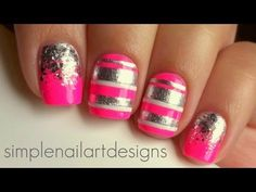 Pink and Silver Glitter Gradient and Stripes Nail Art Tutorial