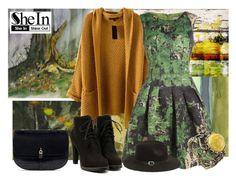 """Knit Khaki Coat from Sheinside"" by gabriele-bernhard ❤ liked on Polyvore featuring moda, Evive Designs, Parvez Taj, NOVICA, Sheinside y shein"