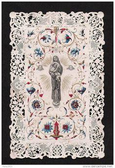 La Ste. Vierge et L.'Enfant. Angelots. Superbe dentelle.