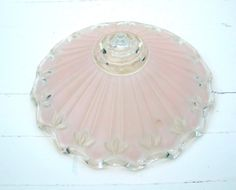 vintage frosted glass   | Vintage Pink Frosted Glass Ceiling Light Fixture Shade - Art Deco ...