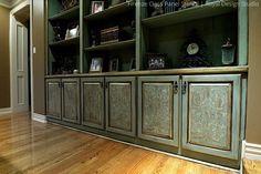 Stenciled Cabinets via Tiffany Alexander |Firenze Classic Panel Stencil by Royal Design Studio