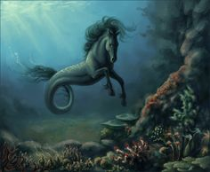 "Kelpie (Irish ""Celtic""/Scottish) - Their nickname is the ""Water-Horse."" They have a head, neck, chest and front legs of a horse then a tail of a fish. Their home are large lakes. They are able to shape-shift into human form, usually male. They are solitary animals."
