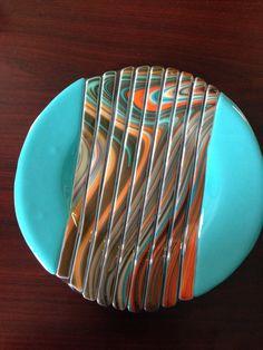 Southwest Fused Glass Plate.  10 inch round by SassyGlassBySuzy