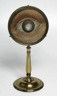 This exquisite model of the eye dates from the late eighteenth century and was used in the Department of Natural Philosophy at the University of Aberdeen for teaching optics. The lens at the front and a screen at the rear display the upside-down image as it appears on the retina of a real eye.