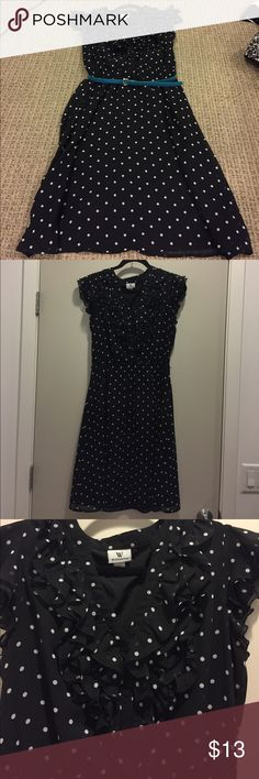 Worthington Black Polka-Dot Dress Polka Dot Dress with Teal Belt. Can be dressed up or down. Very cute!! Only worn twice. Worthington Dresses