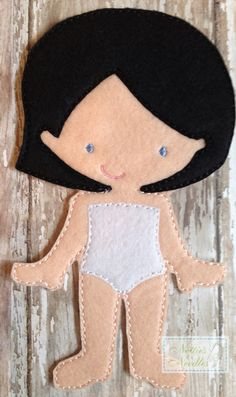 Cloth doll pattern pdf rag doll sewing by for Felt dress up doll template