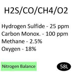 Hydrogen Sulfide 25 PPM, Carbon Monoxide 100 ppm, Methane 50% LEL (2.5%), Oxygen 18%, Nitrogen Balance, 58L Calibration Gas