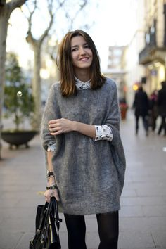 Lovely Pepa - LOVE this slouchy sweater dress over a button down.