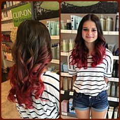 Trendy bright red ombre hairstyle on a light brown natural base. Wavy loose curls with long | Yelp
