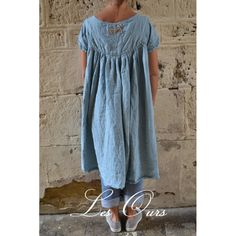 dress FLORIANNE blue linen by Les Ours at boho-chic clothing