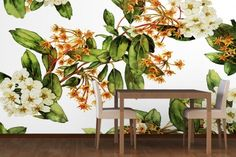 Painted White Flowers Wall Mural