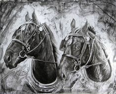 Black and Jack by Susie Gordon Charcoal ~ x Charcoal, Horses, Drawings, Painting, Animals, Black, Art, Art Background, Animales