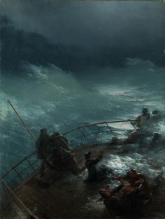 Ivan Aivazovsky (Russian, 1817 - Ship in Seenot, N/D Oil on canvas, x 68 cm. Moonlight Painting, Boat Painting, Great Paintings, Seascape Paintings, Stürmische See, Sea Storm, Sea Of Thieves, Ship Drawing, Stormy Sea
