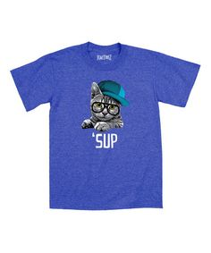 Another great find on #zulily! Royal Blue 'Sup' Big Glasses Cat Tee - Toddler & Kids #zulilyfinds