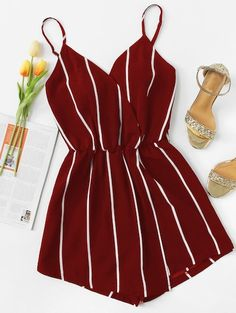 ROMWE offers Vertical Striped Cami Romper & more to fit your fashionable needs. - Source by outfit Cute Comfy Outfits, Cute Summer Outfits, Pretty Outfits, Stylish Outfits, Girls Fashion Clothes, Summer Fashion Outfits, Cute Fashion, Girl Fashion, Fashion Styles