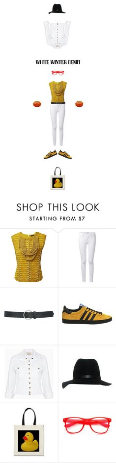 """White Denim, Military Mustard Top & Duck"" by zille ❤ liked on Polyvore featuring Balmain, Frame Denim, M&Co, adidas, Current/Elliott and rag & bone"
