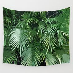 """Jungle Palms - Wall Tapestry ~ ~ Create a tropical island feel for the decor of your beach house settings with this wall tapestry hanging, featuring an evergreen forest of jungle palms throughout! Available in three different sizes to choose from, this tapestry can be used as a decorative throw cover to """"tropify"""" the look and feel of your surf home furnishings as well!   Available in 51x60, 68x80 and 88x104 inches"""
