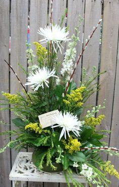 Sympathy fresh flower arrangement