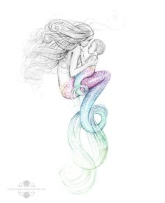 8x10 inch SIGNED Mother Mermaid and Mer-Baby by AMBroughtonArt #white_tattoo_love