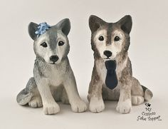 Custom Wolf Wedding Cake Toppers by MyCustomCakeTopper on Etsy