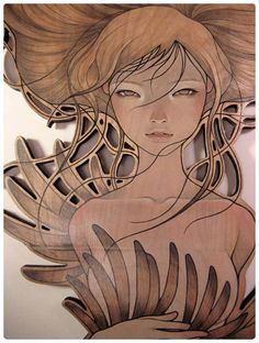 Translucent on wood: Audrey Kawasaki's art amazes me all the time. Her almost transparent way of painting reminds me of art nouveau and manga.