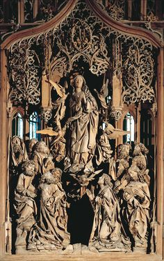 """Assumption of the Virgin"" by Tilman Riemenschneider (1505-1508) Herrgottskirche, Creglingen-am-Tauber, Germany - Tilman Riemenschneider was one of the greatest sculptors of the late Middle Ages. A contemporary of Albrecht Dürer, he spent most of his career in the German city of Würzburg."