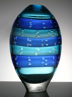 Hand Blown Contemporary Glass Vase 'Joom' - Old Chapel Gallery Leaded Glass, Murano Glass, Design Floral, Blown Glass Art, Glass Vessel, Glass Marbles, Modern Glass, Glass Paperweights, Glass Design