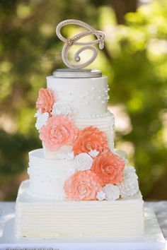 Wedding Cake Topper & Display Vintage Peach or by NDetailDesign, $110.99
