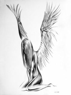 Sexy naked angel temporary tattoo sticker for men women body Sketches tattoos waterproof Sketch pencil drawing art fake tattoo