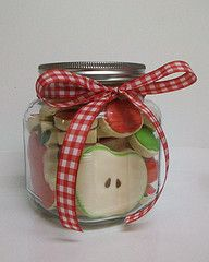 Apple Jar. How cute!! These are cookies, but maybe plastic food for a play kitchen?