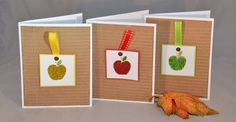 Apple Card - An Apple a Day Blank Handmade Cards (Set of - Fall Card - Back to School Card Teachers Day Card, Teacher Cards, Fall Yarn Wreaths, Apple Back To School, Pin Card, Hand Stamped Cards, Fall Cards, Paper Decorations, Homemade Cards