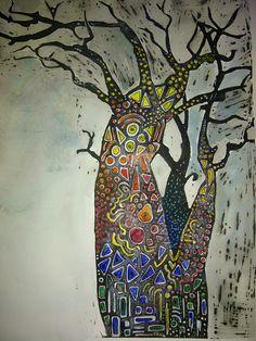 Multi media, Lino print and acrylic. South Africa Art, African Tree, Baobab Tree, Bodhi Tree, Aboriginal Artists, Indigenous Art, Blue Art, Art Techniques, Folk Art