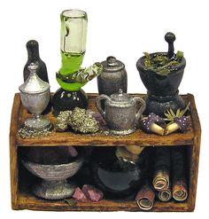 Dollhouse Miniature Apothecary/Potion Shelf - Handmade 1:12 scale OOAK
