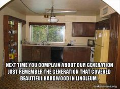 Funny Pictures Of The Day – 36 Pics  My grandmother has this exact floor...and cabinets...and color...actually this is pretty much her kitchen. #timeforanupdategma
