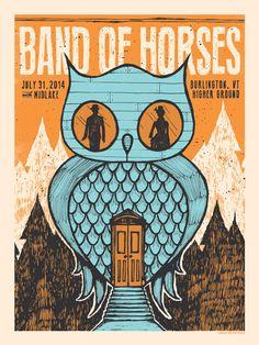 Band of Horses Concert Poster Burlington VT by SubjectMatterStudio, $25.00
