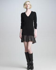 V-Neck Lace-Skirt Dress - Neiman Marcus