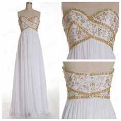 2014 Vintage Sweetheart White Chiffon dresses Long Prom Dresses Evening dresses Long Evening Gowns Elegant Dresses in Handmade Weddings