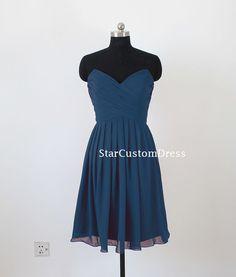 Short Navy Bridesmaid dress Strapless by StarCustomDress on Etsy