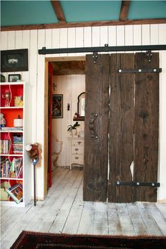 sliding door ideas for both the closet doors and the room door- Jennifer suggested two half sized door for the main door - which perfectly solves our space issue (not enough room for a full door to slide all the way open